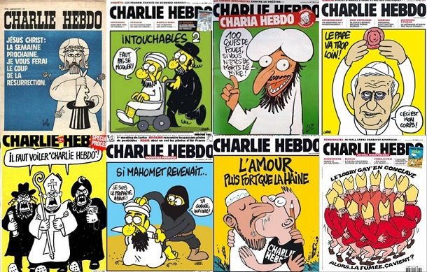 Collection of Charlie Hebdo front covers reprinted in solidarity