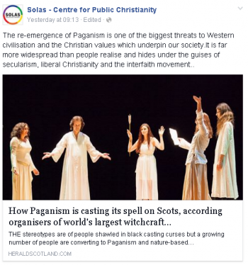 "Scottish evangelists identify Paganism as one of the ""biggest threats to Western civilisation"""