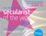 Tickets on sale and nominations open for Secularist of the Year 2016