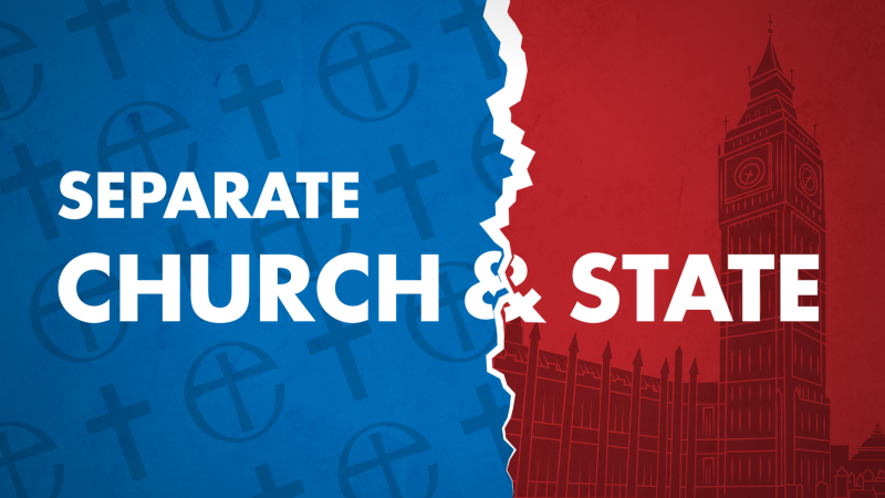 Separate church and state campaign link - symbols of established church and parliament separated in image.