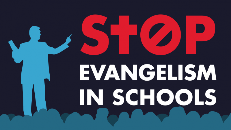 Stop Evangelism in schools campaign link - religious stylized figure preaching to school children in image.