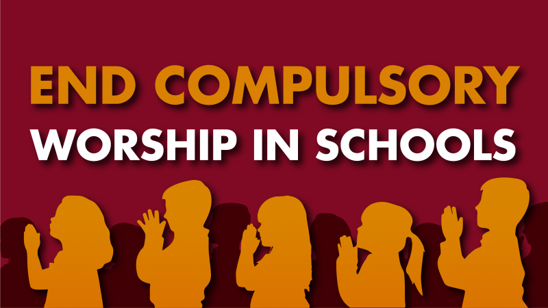 End compulsory worship in schools campaign link - silhouettes of praying schoolchildren in image.