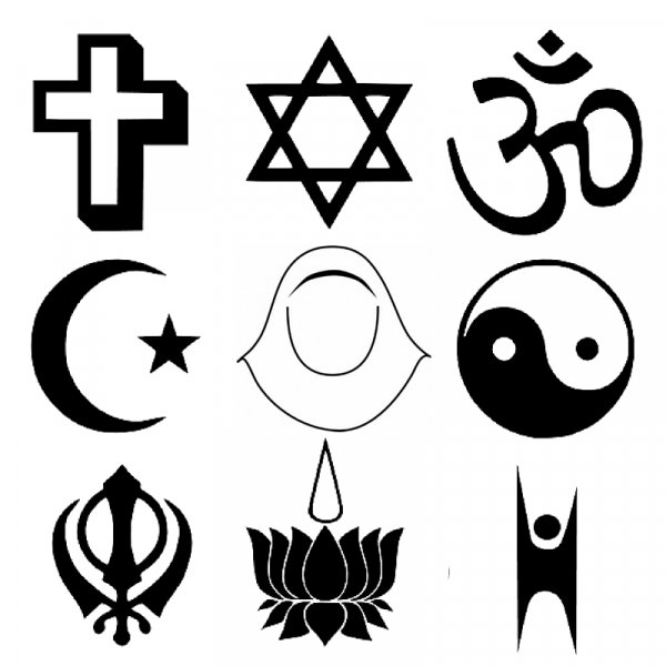 The image above shows different figures representing main religions.