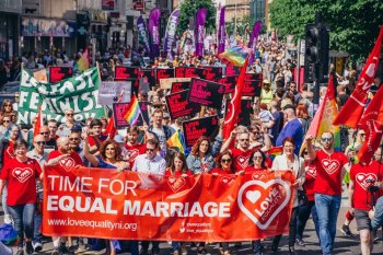 Thousands march for marriage equality in NI