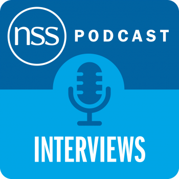 NSS podcast interview blue graphic with microphone
