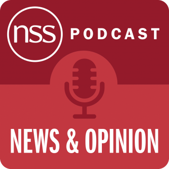 NSS podcast news and opinion red graphic with microphone