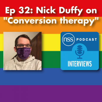Title of episode on LGBT flag with podcast logo and Nick Twitter image
