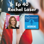 Episode title with logo and picture of Rachel on US flag background