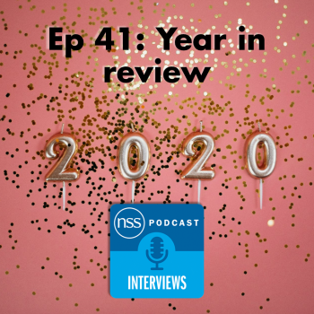 Episode title with logo on confetti 2020 background