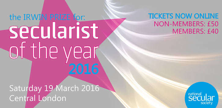 Secularist of the Year 2016 banner image