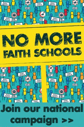 Image: No More Faith Schools placards and mixed figures with link to join our national campaign.