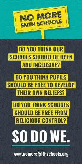 Image: NMFS Banner with questions and placards-- click for No More Faith Schools website