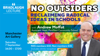 Image: No Outsiders Bradlaugh Lecture 2019 graphic featuring Andrew Moffat - click for details and tickets