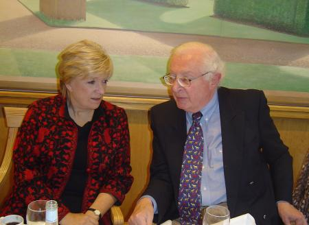 Michael Irwin, the sponsor, with Polly Toynbee